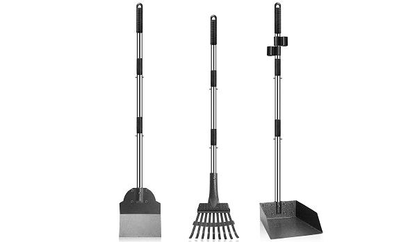 Rake and shovel to pick up poop