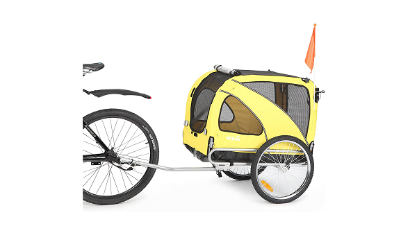 Yellow bike trailer for dogs